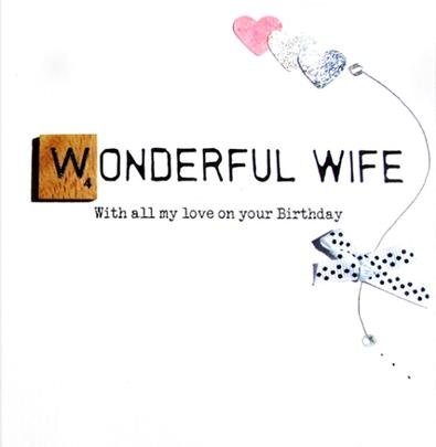 Wonderful Wife Birthday Bexyboo Scrabbley Neon Greeting Card
