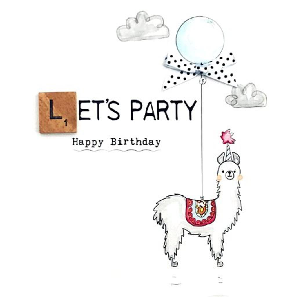 Birthday Llama Bexyboo Scrabbley Neon Birthday Card
