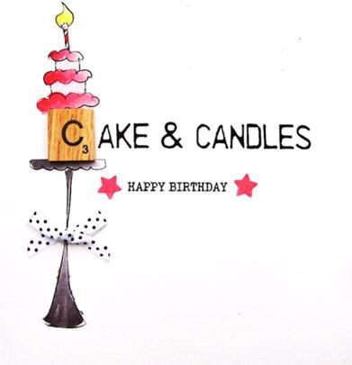 Birthday Cake Bexyboo Scrabbley Neon Birthday Card