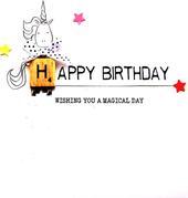 Birthday Unicorn Bexyboo Scrabbley Neon Birthday Card