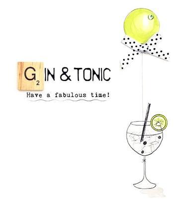 Gin & Tonic Bexyboo Scrabbley Neon Birthday Card