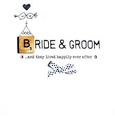 Bride & Groom Wedding Bexyboo Scrabbley Neon Greeting Card