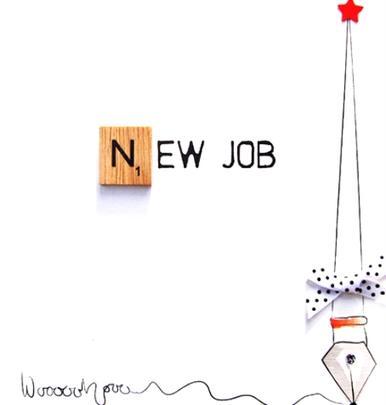 New Job Bexyboo Scrabbley Neon Greeting Card