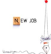 New Job Bexyboo Scrabbley Neon Greeting Card
