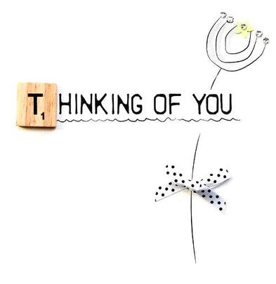 Thinking Of You Bexyboo Scrabbley Neon Greeting Card
