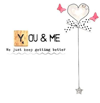 You & Me Anniversary Bexyboo Scrabbley Neon Greeting Card