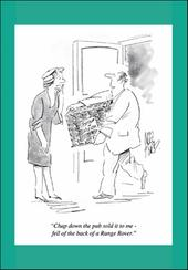 Bloke Down Pub Punch Cartoon Humour Greeting Card