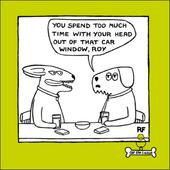Car Window Cartoon Dog Humour Greeting Card
