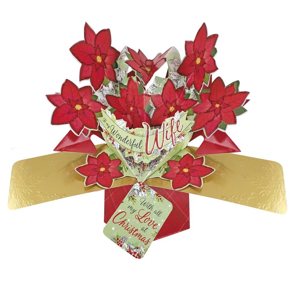 Wife Christmas Poinsettias Pop-Up Greeting Card