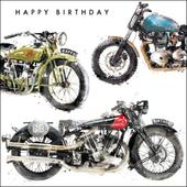 Classic Motorbike Birthday Greeting Card