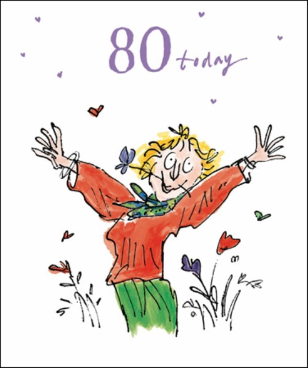 Quentin Blake Female 80th Birthday Greeting Card