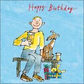 Man & Dog Happy Birthday Quentin Blake Greeting Card