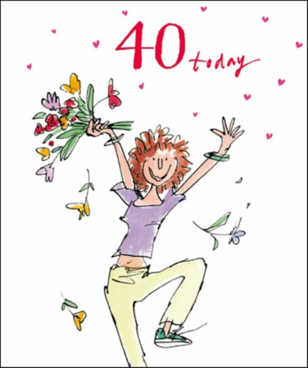 Quentin Blake Female 40th Birthday Greeting Card