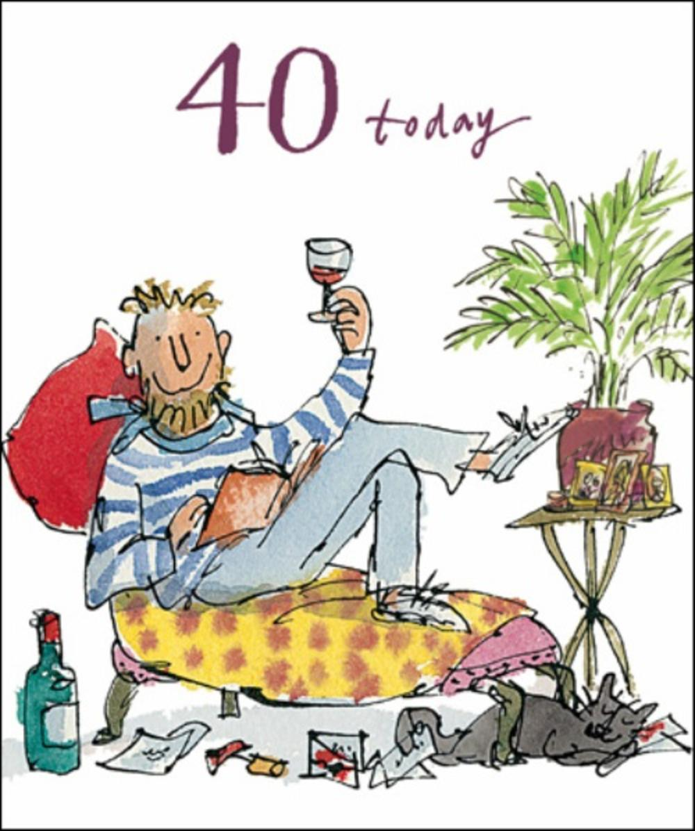 Quentin Blake Male 40th Birthday Greeting Card Cards