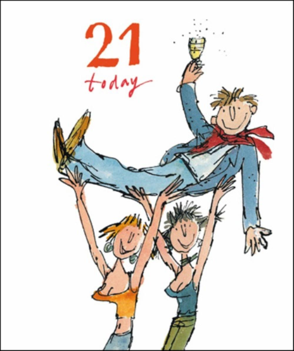 Quentin Blake Male 21st Birthday Greeting Card Cards