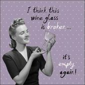 Empty Wine Glass Retro Humour Birthday Card