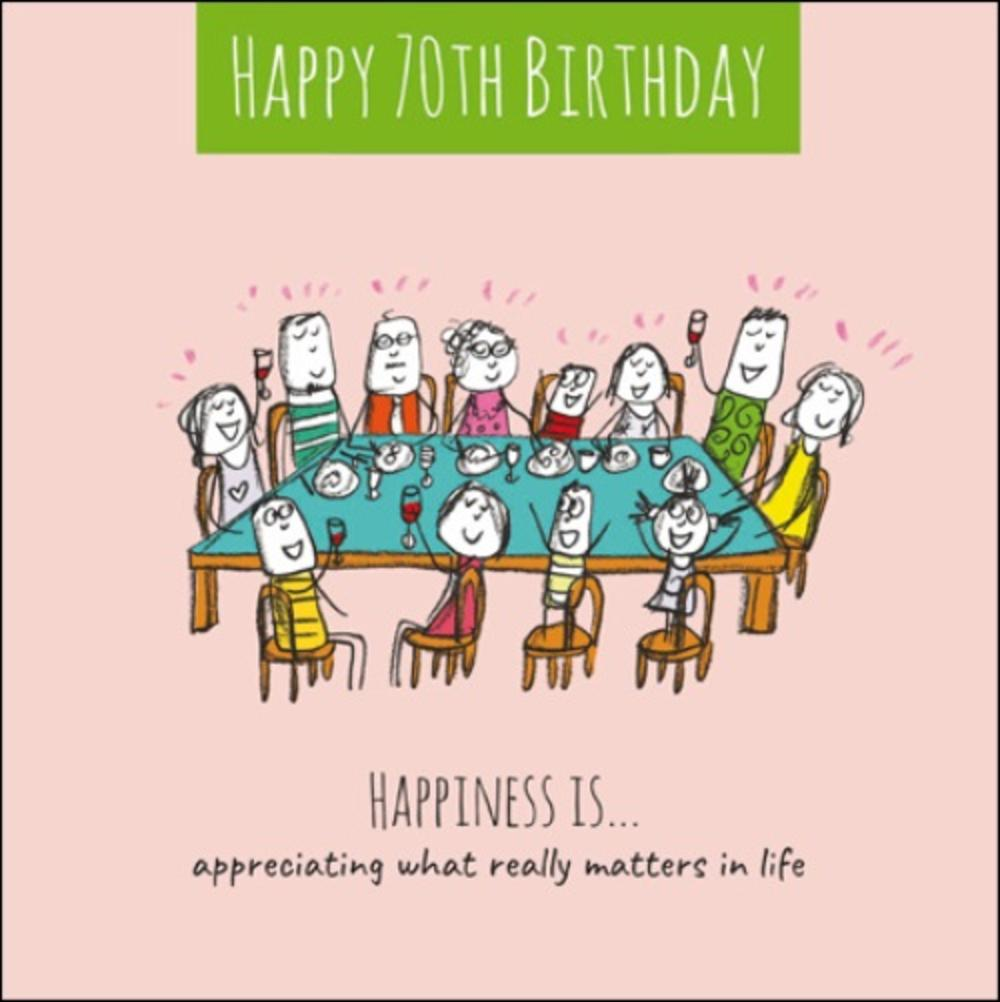 Happiness Is Happy 70th Birthday Greeting Card