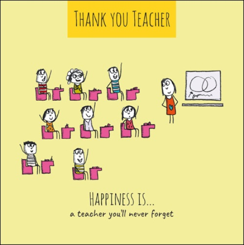 Happiness Is    Thank You Teacher Greeting Card