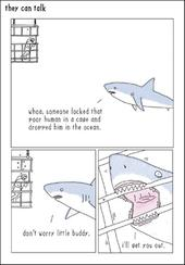 Shark Cage Funny They Can Talk Greeting Card