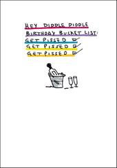 Birthday Bucket List Funny Bing Eastwood Greeting Card