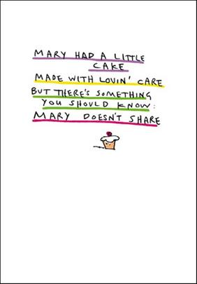 Mary Had A Cake Funny Bing Eastwood Greeting Card