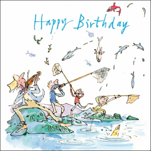 Fishing Happy Birthday Quentin Blake Greeting Card Square