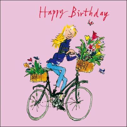 Lady On Bike Happy Birthday Quentin Blake Greeting Card