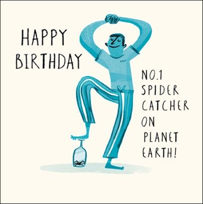 No.1 Spider Catcher Livin' It Birthday Greeting Card