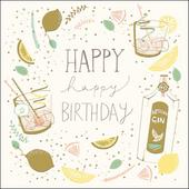 Gin & Tonic Happy Birthday Greeting Card