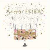Cake & Candles Happy Birthday Greeting Card