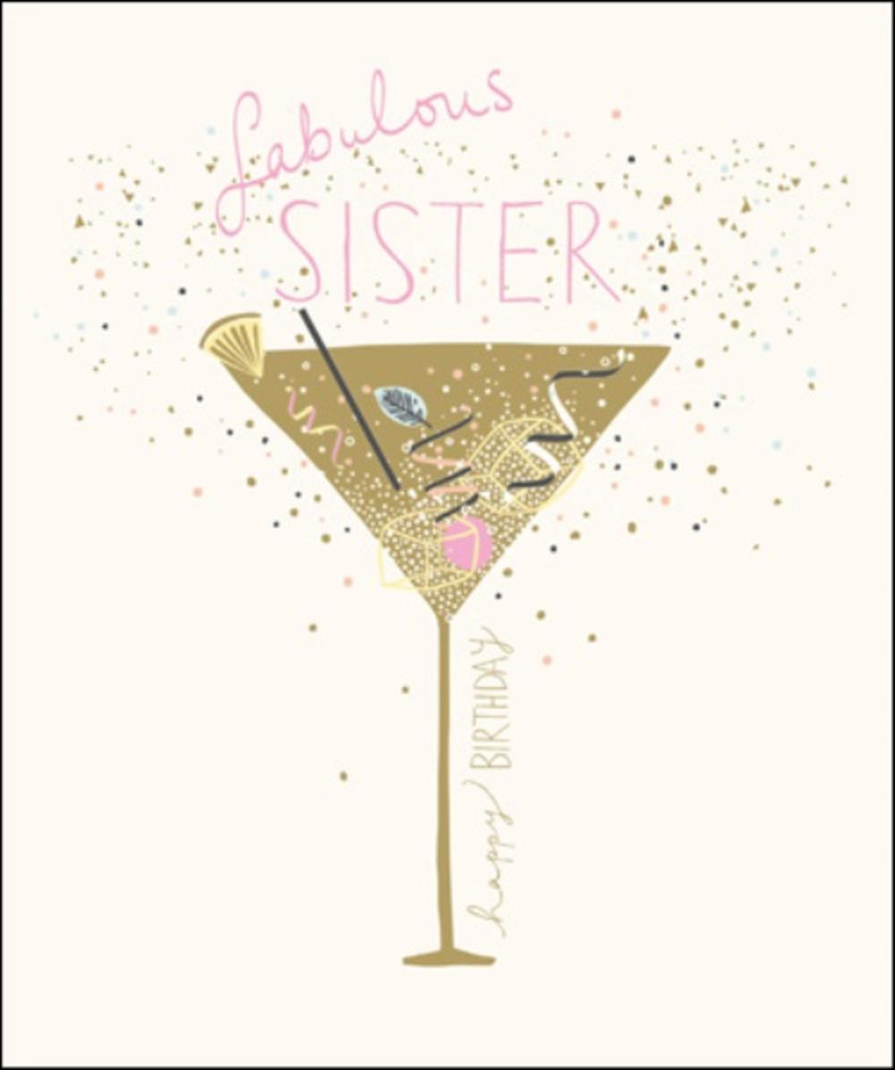 fabulous sister happy birthday greeting card  cards
