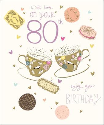 Pretty Happy 80th Birthday Greeting Card