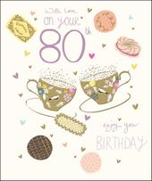 Pretty Happy 80th Birthday Greeting Card