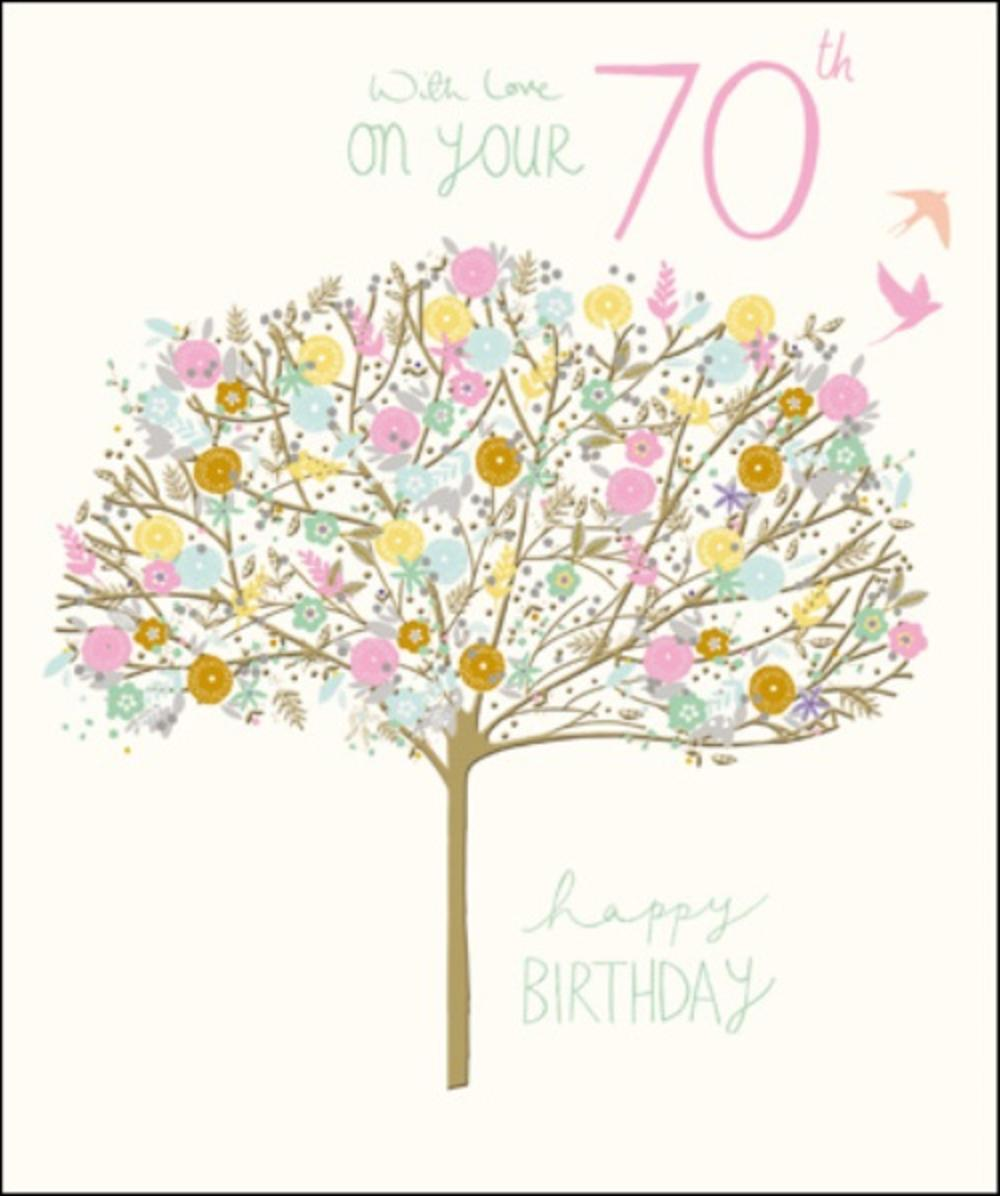 Pretty Happy 70th Birthday Greeting Card