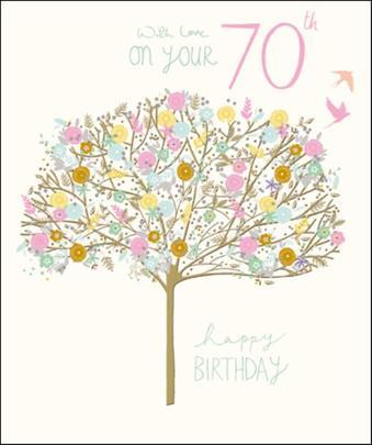Pretty Happy 70th Birthday Greeting Card
