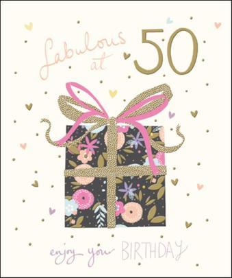Pretty Happy 50th Birthday Greeting Card