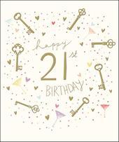 Pretty Happy 21st Birthday Greeting Card