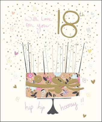 Pretty Happy 18th Birthday Greeting Card