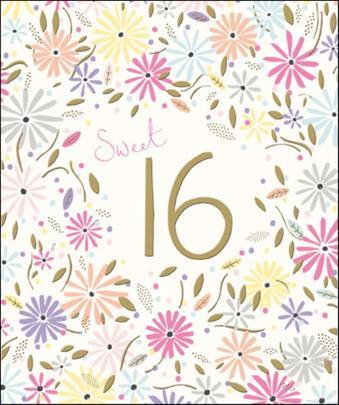 Sweet 16 Happy 16th Birthday Greeting Card