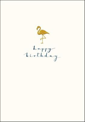 Flamingo Happy Birthday Simple Gold Foil Greeting Card