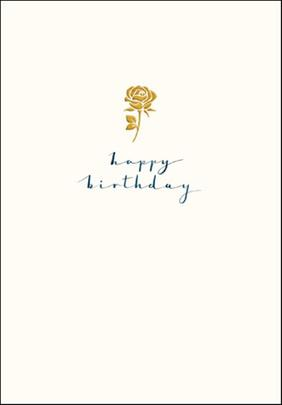 Rose Happy Birthday Simple Gold Foil Greeting Card