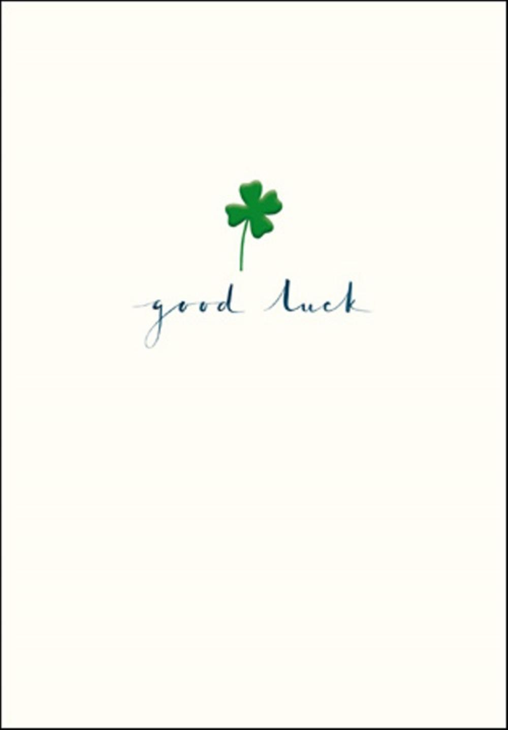 Good Luck Simple Green Foil Clover Greeting Card