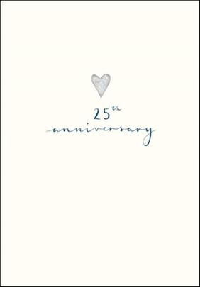 25th Anniversary Simple Silver Foil Greeting Card