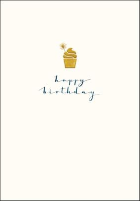 Cupcake Happy Birthday Simple Gold Foil Greeting Card