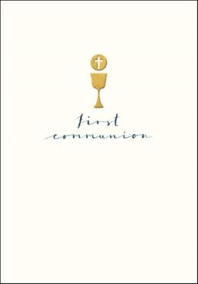 First Communion Simple Gold Foil Greeting Card