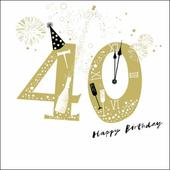 40th Happy Birthday Gold Glitter Greeting Card