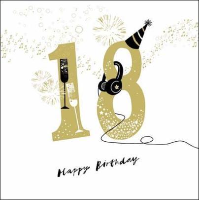 18th Happy Birthday Gold Glitter Greeting Card