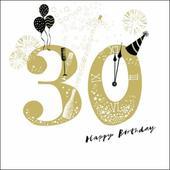 30th Happy Birthday Gold Glitter Greeting Card
