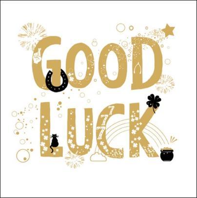 Good Luck Gold Glitter Greeting Card