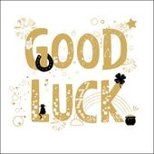Good Luck Gold Glitter Greeting Card